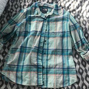 Plaid teal north face shirt